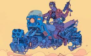 Картинка Девушка, Girl, Оружие, Fantasy, Автомат, Gun, Арт, Art, Robot, Robots, Фантастика, Bike, Киборг, Револьвер, Киберпанк, …