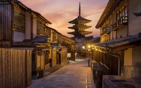 Картинка улица, весна, утро, Япония, Киото