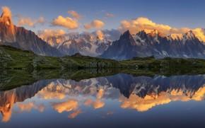 Картинка горы, отражение, панорама, водоем
