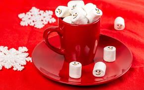 Картинка снежинки, креатив, стол, праздник, новый год, кружка, сладости, красный фон, блюдце, боке, маршмэллоу