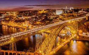 Картинка мост, река, панорама, Португалия, ночной город, Portugal, Vila Nova de Gaia, Porto, Порту, река Дуэро, …