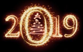 Картинка золото, Новый Год, цифры, golden, черный фон, black, background, New Year, fireworks, Happy, sparkle, 2019