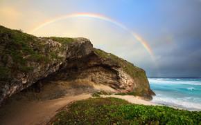 Картинка обрыв, побережье, радуга, атмосфера