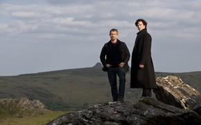 Картинка пейзаж, скала, Шерлок Холмс, Мартин Фриман, Бенедикт Камбербэтч, Sherlock, Sherlock BBC, Sherlock Holmes, Джон Ватсон, …