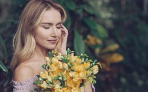Картинка девушка, цветы, женщина, красота, букет, весна, блондинка, girl, woman, yellow, flowers, beautiful, spring, blond