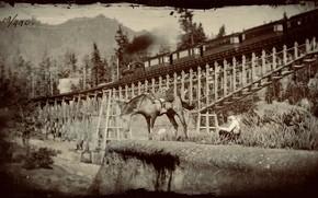 Картинка HDR, Wood, Bridge, Mountain, Train, Game, Man, Trees, Horse, UHD, Red Dead Redemption 2, Xbox …