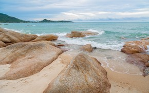 Картинка песок, море, волны, пляж, лето, небо, камни, берег, summer, beach, sea, blue, seascape, sand, wave