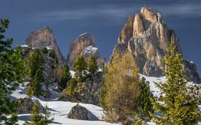 Картинка небо, снег, деревья, пейзаж, горы, природа, красота