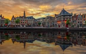 Картинка закат, дома, Амстердам, Нидерланды, набережная, Голландия