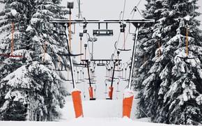 Картинка зима, природа, канатная дорога
