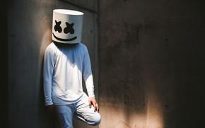 Картинка стена, человек, маска, диджей, маршмэллоу, Marshmello