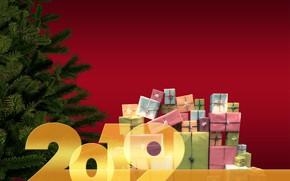 Картинка красный, хвоя, елка, подарки, новый год, 2019