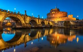 Картинка небо, свет, ночь, мост, старина, город, огни, отражение, река, синева, замок, вечер, освещение, Рим, фонари, …