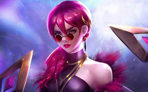 Картинка девушка, очки, Evelynn, League Of Legends, Sunglasses, Pink Hair