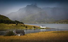 Картинка деревья, горы, туман, скалы, Норвегия, залив, домики, Lofoten
