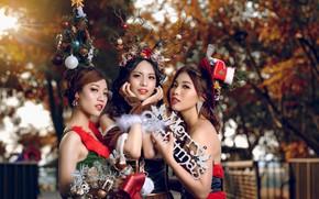Картинка девушки, праздник, happy new year, merry christmas