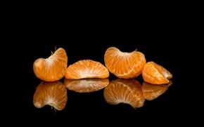 Картинка отражение, дольки, мандарин