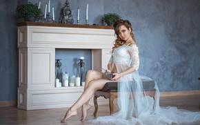 Картинка white, lingerie, pretty, pose, Галяев Евгений