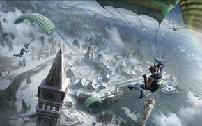 Картинка город, люди, парашют, PlayerUnknown's Battlegrounds