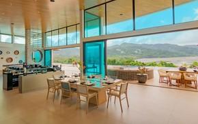 Картинка вилла, интерьер, бассейн, терраса, гостиная, столовая, Luxury Villa, Villa Nautilus