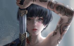 Обои взгляд, девушка, япония, меч, тату, фэнтези, арт