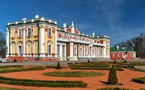 Картинка небо, солнце, деревья, дизайн, парк, здание, Эстония, Таллин, скамейки, дворец
