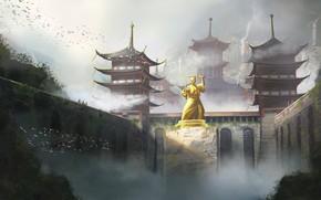 Картинка Рисунок, Япония, Дворец, Замок, Japan, Архитектура, Art, Concept Art, Architecture, Памятник, Feudal Japan, Environments, Karolina …