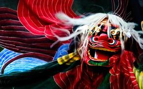 Картинка праздник, Япония, маска, танец льва