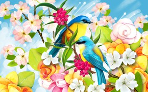 Картинка цветы, рисунок, птички