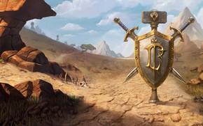 Картинка World of Warcraft, game, desert, mountains, weapons, digital art, artwork, shield, swords, fantasy art, Blizzard …
