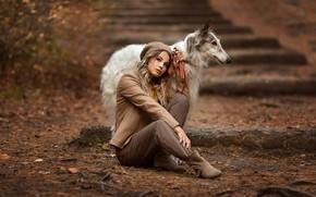 Картинка осень, девушка, поза, собака, Анастасия Бармина
