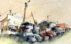 Картинка машины, рисунок, гараж