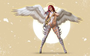 Картинка девушка, ангел, воин, нимб