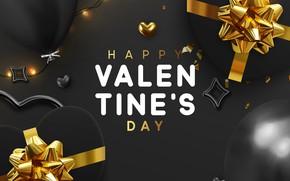 Картинка шарики, фон, подарки, сердечки, золотой, СЕРЫЙ, открытка, Valentines Day