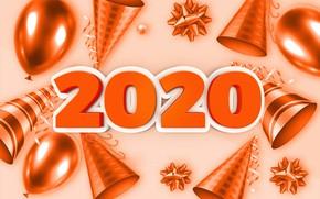 Картинка шарики, фон, праздник, Новый год, New Year, 2020
