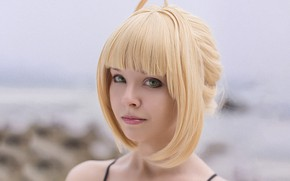 Картинка girl, sexy, green eyes, beautiful, short hair, pretty, cosplay, erotic, blonde, attractive, handsome, Saber, Fate …