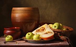 Картинка яблоки, горшок, натюрморт, вазон, дольки, дыня, керамика