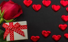 Картинка flowers, gift box, red, подарок, красные, конфеты, hearts, сердечки, chocolate, розы, romantic, valentine's day, roses, …