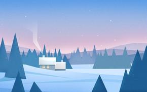 Картинка Природа, Зима, Минимализм, Деревья, Снег, Лес, Дом, Пейзаж, Nature, Арт, Art, Landscape, Minimalism, Forest, Trees, …