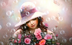 Картинка бабочки, сияние, букет, мыльные пузыри, девочка, шатенка, розовые цветы, в шляпке