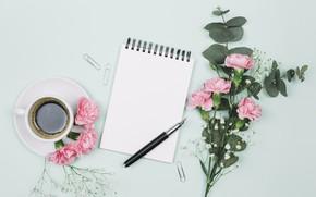 Картинка цветы, кофе, букет, ручка, блокнот