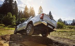 Картинка лужа, яма, Renault, пикап, 4x4, корма, 2017, Alaskan, серо-серебристый