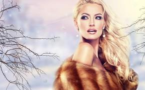 Картинка девушка, стиль, волосы, портрет, макияж, прическа, блондинка, украшение