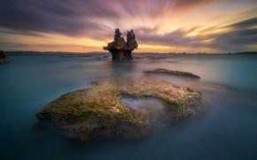 Картинка море, небо, камни, рассвет, берег, горизонт, залив, Vivonne Bay