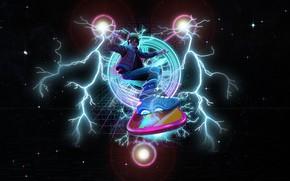 Картинка Звезды, Молнии, Art, 80s, Neon, Back to the Future, 80's, dandingeroz, by dandingeroz, Hoverboard Takes …