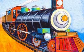 Картинка стена, граффити, паровоз