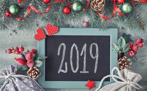 Картинка праздник, фон, шишки, 2019, Новый год, шары, декор, надпись