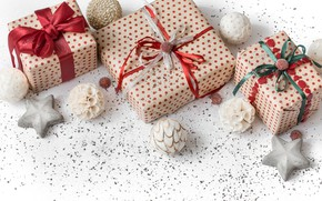 Картинка украшения, Рождество, подарки, Новый год, new year, Christmas, wood, decoration, gift box, fir tree, ветки …