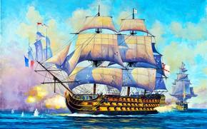 Картинка линейный корабль, парусный, Royal Navy, Великoбритaния, HMS Victory, первого ранга, 104-пушечный