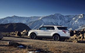 Картинка дорога, белый, горы, камни, Ford, Sport, SUV, Explorer, 2017, XLT